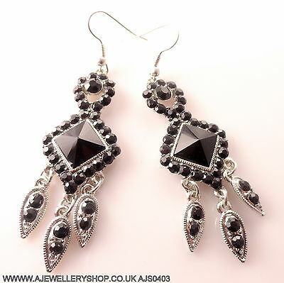 Silver Tone Black Stones Crystal Beaded Stylish Design Long Drop Dangly Earrings