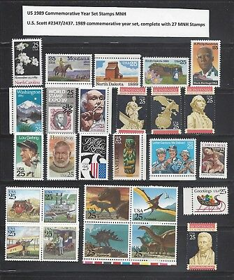 US 1989 Commemoratives Year Set with 27 Stamps MNH