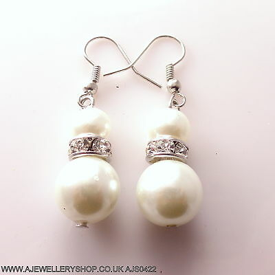 Silver Coloured Drops Clear Design Crystal Glass White Pearl Stylish Earrings