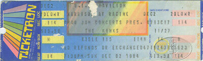 THE KINKS 1984 WORD MOUTH TOUR Unused Concert Ticket