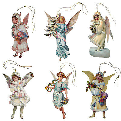 150 Vintage Angel Gift Tags, Die-cut & strung with Gold Metallic Cord XT0021