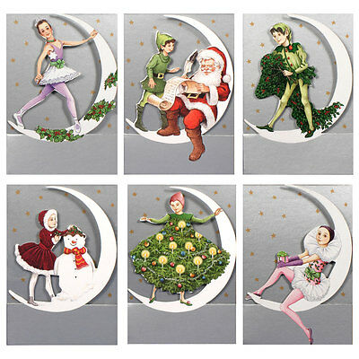 150 Petite Gift Cards Depicting Christmas Characters on a Die-cut Moon XG0031