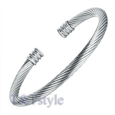 TRENDY T&T 316L Stainless Steel Cuff Bangle Silver BS31