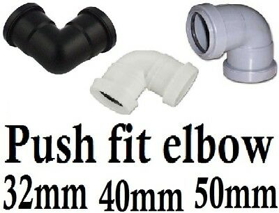 Push fit waste plumbing pipe knuckle bend elbow 32mm/40mm/50mm white,black,grey