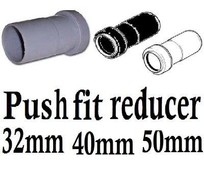 Push fit plumbing pipe waste water reducer 32mm 40mm 50mm white,black,grey