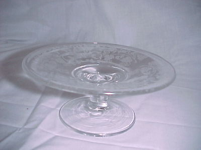 New Martinsville #29 Etch Teardrop Crystal Cheese Tray