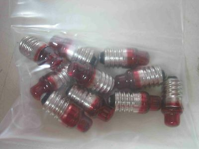 Qty-10 GE General Electric 222 Red Lamp Bulb E10