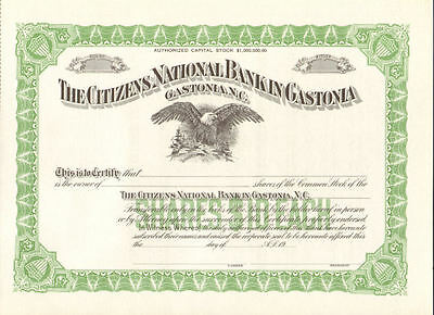 Citizens National Bank   Gastonia NC stock certificate