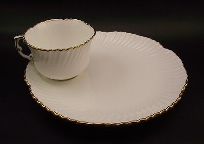 Hammersley China Snack Set~Cup & Plate~White & Gold