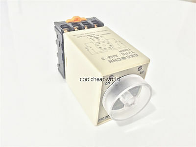 AH3-3 AC 220V 10S Power On Delay Timer Time Relay 220VAC 0-10 second with Base