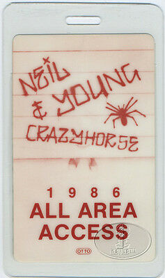 Neil Young Crazy Horse 1986 Laminated Backstage Pass