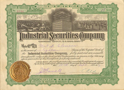 Industrial Securities Company stock certificate share