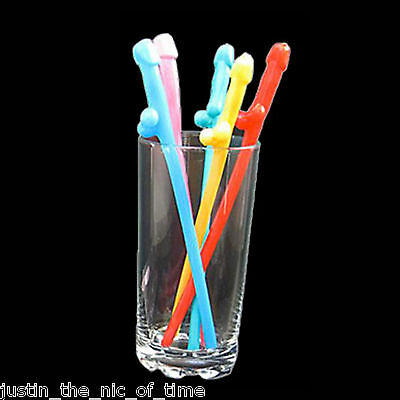 Hen Party Coloured Rainbow Willy Straws x 4 - 20