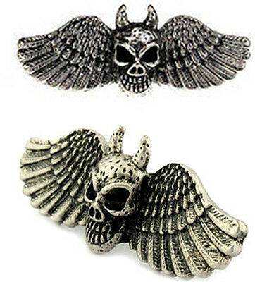 Skull with wings double finger ring punk goth biker