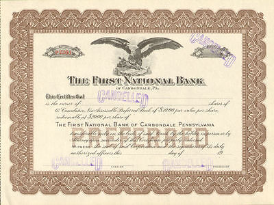 First National Bank of Carbondale Pennsylvania > stock