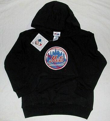 New York  Ny Mets Majestic Hooded Sweatshirt Hoodie Youth S M L Xl Black Nwt