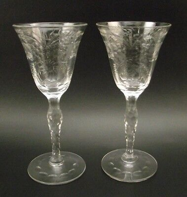 2 Seneca Crystal Floral Cut Cordial Glasses #109-2