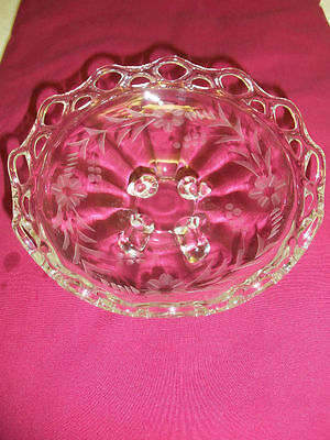 Clear Glass 4 Footed Bowl Etched Lace  Edge Elegant