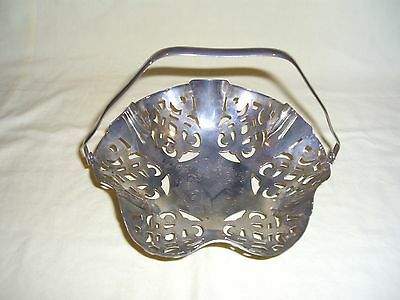 Footed Silver Plated Basket with Swivel Handle Silverplated