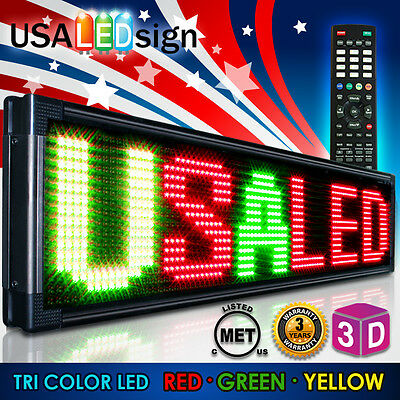 "Led Sign 41""x13"" 15Mm Tri Color-Outdoor Programmable Scrolling Message Board"