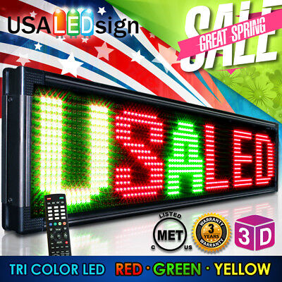 "Led Sign 60""x22"" 30Mm Tri Color-Outdoor Programmable Scrolling Message Board"