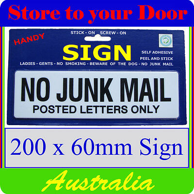 No Junk Mail Sign, Letterbox sign - stick on - LARGE