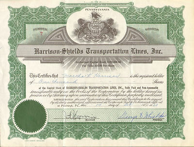 Harrison-Shields Transportation Lines Pittsburgh Pennsylvania stock certificate