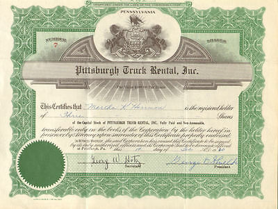 Pittsburgh Truck Rental   Pennsylvania old stock certificate share scripophily