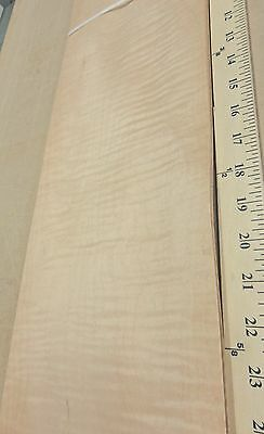 "Curly Maple figured quilted wood veneer 7"" x 33"" raw no backing 1/42"" thickness"