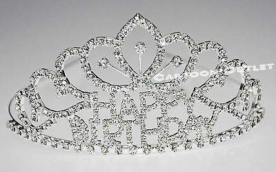 Happy Birthday Tiara Rhinestones Quinceanera Party Headpiece Metal Vip ! Crown