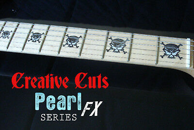 Evil Skull BLACK PEARL Fret Marker Inlay Stickers for Maple Neck BASS and GUITAR