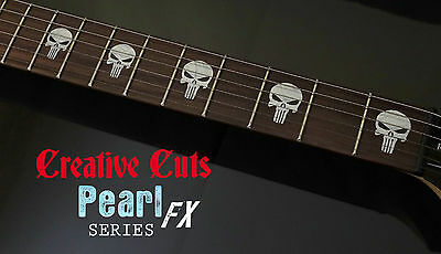 Punisher Skull MOP Fretboard Marker Vinyl Inlay Stickers for BASS and GUITAR