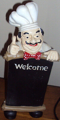 "Fat Chef Waiter With Welcome Sign Menue Board 11"" Tall"