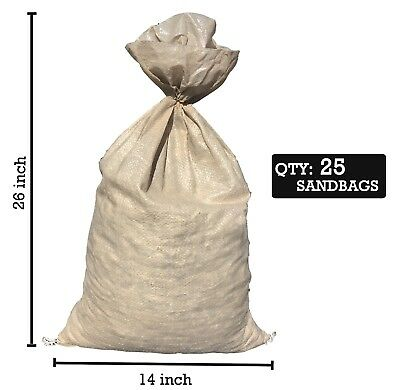 Sandbaggy (25) Beige Empty Sandbags For Sale 14x26 Sandbag Sand Bags Bag Poly