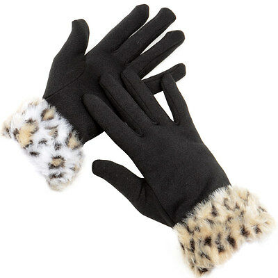 Ladies Black Smooth Fabric Fleece Lined Gloves With Animal Print Faux Fur Cuffs
