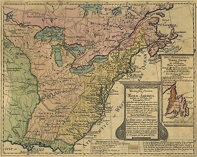 1783 North America New United States Old Antique Map