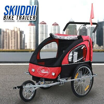 New 2 in 1 Twin Baby Kids Bicycle Trailer Bike Trailer Child Baby Stroller