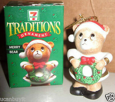 1997 Citgo & 7-11 MERRY BEAR Limited Ed Collectible Christmas Ornament w/Box