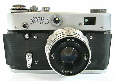VINTAGE RUSSIAN FED 3 CAMERA SOVIET USSR CCCP RUSSIA #6664608 HOLDER SEE!! »