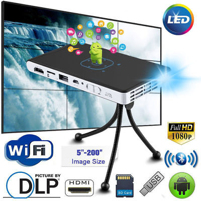 Mini Pocket Android Projector DLP WiFi 3D HD Home Theatre Cinema HDMI Bluetooth