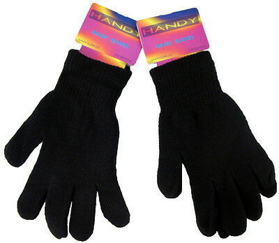 2 x Magic Gloves Thermal Mens Ladies Stretchy Winter Warm One Size Black