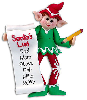 PERSONALIZED Santa's List ELF Christmas Ornament Polymer Clay by Deb & Co.