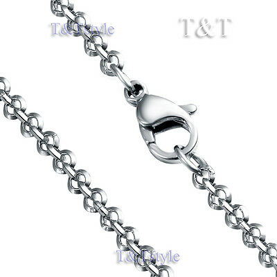 High Polished T&T 3mm 316L Stainless Steel ROLO Chain Necklace Silver  (C64)