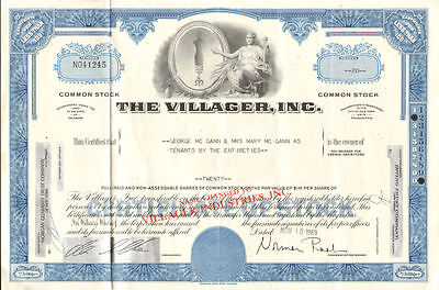 The Villager   1969 stock certificate share scripophily