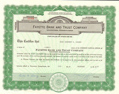 Fayette Bank and Trust Company   Uniontown Pennsylvania stock certificate share