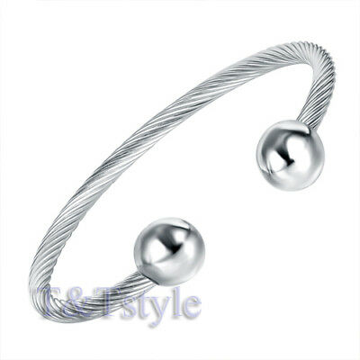 TRENDY T&T 316L Stainless Steel Cuff Bangle Silver BS32