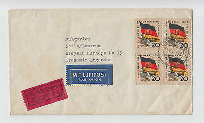 DEUTSCHE LUFTPOST GERMANY DDR TO BULGARIA 1960 COVER SEAL STAMPS AIRMAIL #56 »