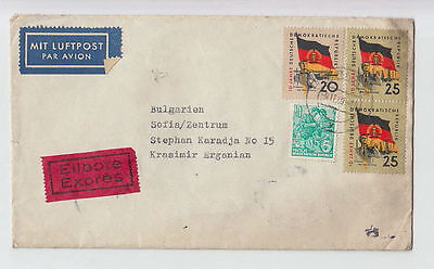 DEUTSCHE LUFTPOST GERMANY DDR TO BULGARIA 1959 COVER PIRNA STAMPS AIRMAIL #59 »