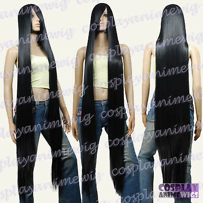 150cm Black Styleable Extra Super Long Cosplay Wigs 81_001