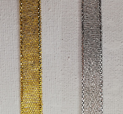 Ribbon Gold Silver 16 Meters Width 1 Centimeter